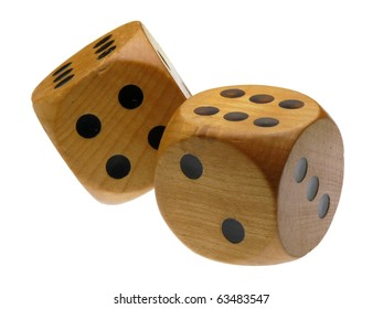 Retro wooden dice (double 6)