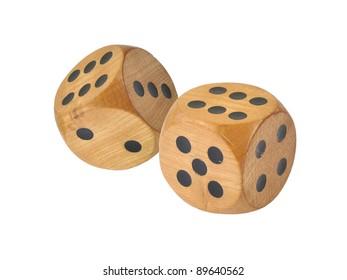 Retro wooden dice, double six