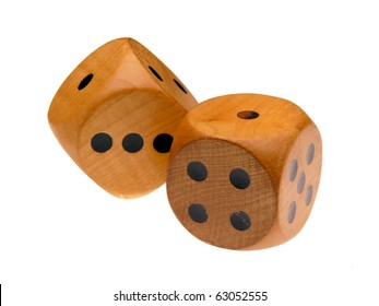 Retro wooden dice (one and rolling one)