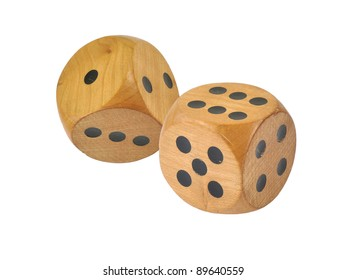 Retro wooden dice, six and one