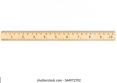 retro wooden ruler isolated on white background