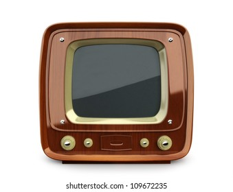 Retro wooden TV, front view on a white background