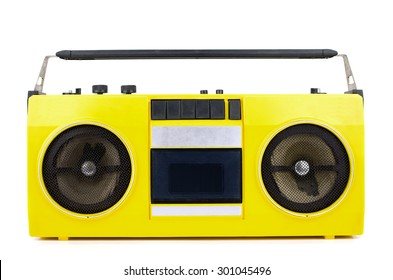 Retro yellow ghetto blaster isolated on white with clipping path