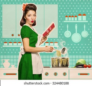 Retro young woman cooking spaghetti and reading recipe book in her kitchen room on old paper