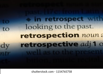retrospection word in a dictionary. retrospection concept.