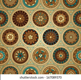 Retro-style background with seamless pattern - raster version