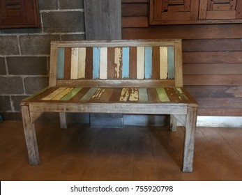 Retro-style wooden bench