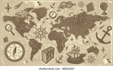 Retro-styled world map with travel and nautical icons. Raster version. Vector version is also available.