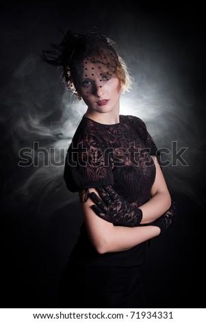 Retrostylized Woman Black Hat Veil Black Stock Photo (Edit Now ... e3764d3cc127