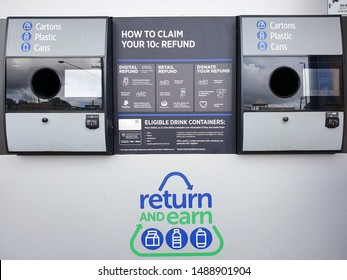 Return and earn 10 cents plastic cartoon cans bottles government incentive scheme machine environmental program Highlands marketplace Mittagong NSW Australia 27th August 2019