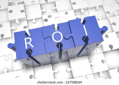 Return on investment - puzzle 3d render illustration with block letters on blue jigsaw pieces