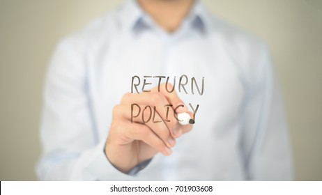 Return Policy, Man Writing on Transparent Screen