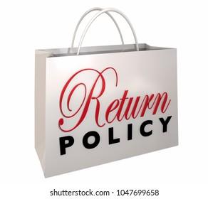 Return Policy Satisfaction Guaranteed Shopping Bag 3d Illustration