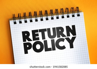 Return Policy text quote on notepad, concept background
