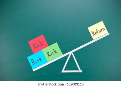 Return and risk imbalance concept, words and drawing on blackboard