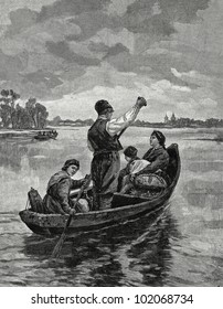 "Returning from the city. Engraving by Shyubler from picture by Tkachenko. Published in magazine ""Niva"", publishing house A.F. Marx, St. Petersburg, Russia, 1899"
