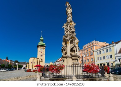Retz, Austria - September 4, 2019: beautiful square of the small town Retz in lower Austria. The aerea of Weinviertel is a famous place for winemaking