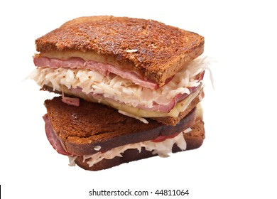 reuben sandwiches on white background