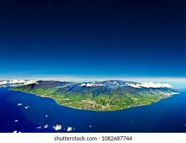 Reunion island aerial photo