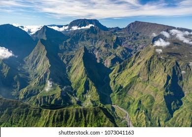 Reunion island aerial view