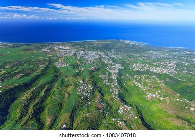 Reunion island aerial view. View on the area of Etang-Salé
