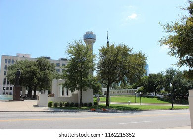 Reunion Tower from Dealey Plaza in Dallas, Texas