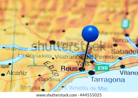Map Of Spain Reus.Reus Pinned On Map Spain Stock Photo Edit Now 444555025 Shutterstock