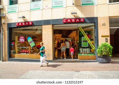 Reus, Spain - August 16, 2017: Streets of Reus on hot sunny day. Reus is also a gateway to the Costa Daurada's sparkling beaches.Reus is the birthplace of the great architect Gaudi.