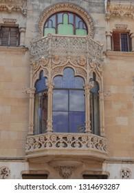Reus, Tarragona/Spain; May 23 2015: Casa Navas modernist balcony, catalonian modernist architecture, Reus, Tarragona, Catalonia, Spain