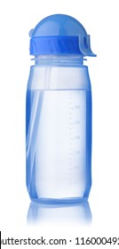 Reusable blue sport water bottle isolated on a white