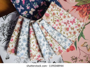 Reusable handkerchiefs in colorful pattern on nice background