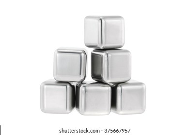 Reusable and non diluting stainless steel chilling fake ice cubes for whiskey on the rocks or chilled wine, isolated on white