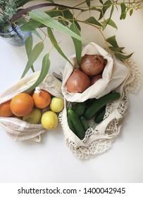 Reusable organic cotton grocery bag