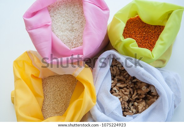 Reusable produce bags with cereals