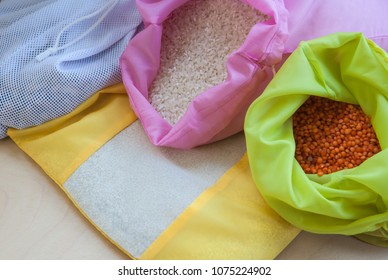 Reusable produce bags with cereals, selected focus