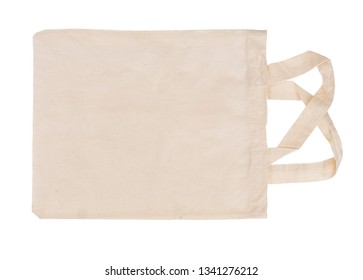 Reusable, recyclable fabric shopping tote bag, isolated on white. For environmentally friendly, green consumers.
