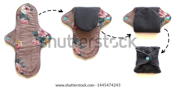 Reusable sanitary menstrual pads, the sequence of folding. Washable cloth pads, Eco Women Pads, Zero Waste Concept