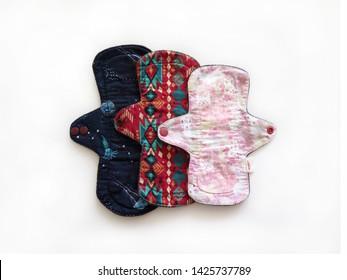Reusable sanitary menstrual pads, Washable cloth pads after Using and Washing, Eco Women Pads, Zero Waste Concept