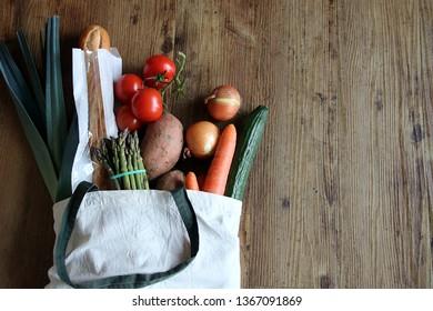 reusable shopping bag with food