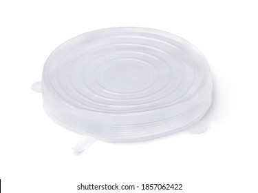 Reusable silicone stretch bowl cover isolated on white