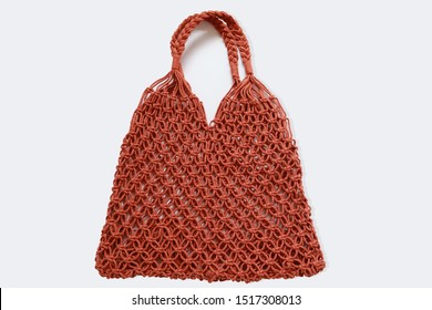 Reusable string shopping eco mesh bag Isolated on wgite background. Concept no plastic, zero waste and eco frendly.