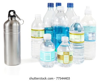 Reusable water bottle instead of piles of disposable plastic water bottles