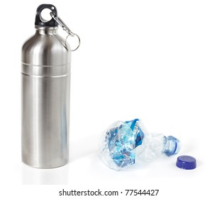 Reusable water bottle in place of disposable plastic water bottle, isolated