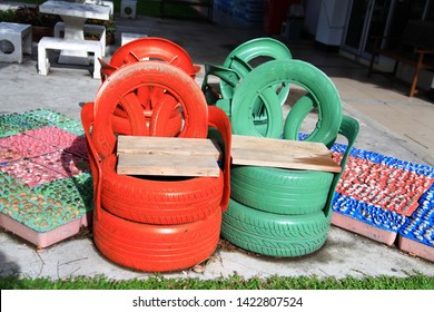 Reuse rubber car,old tires are recycled and reused to create nice garden chairs, in Guano,