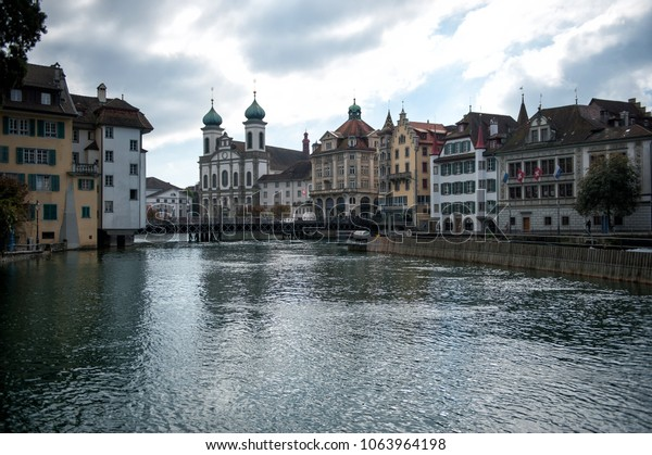 Reuss river in the center of Luzern