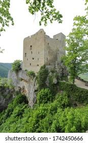 Reussenstein Castle in the Swabian Jura near Neidlingen.
