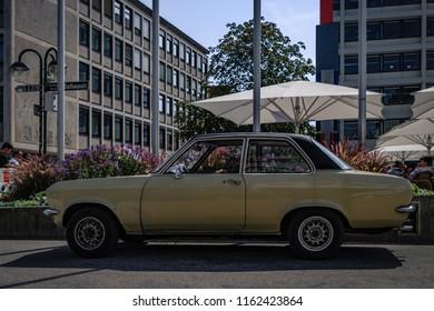 Reutlingen, Germany - August 19, 2018: Opel Ascona 16 oldtimer car at the Reutlinger Oldtimertag event in Reutlingen.