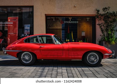 Reutlingen, Germany - August 19, 2018: Jaguar E-Type 4.2 oldtimer car at the Reutlinger Oldtimertag event in Reutlingen.