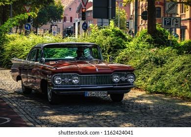 Reutlingen, Germany - August 19, 2018: 1959 Oldsmobile Dynamic 88 oldtimer car at the Reutlinger Oldtimertag event in Reutlingen.