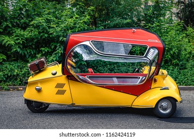 Reutlingen, Germany - August 19, 2018: 1959 Messerschmitt FMR Kabinenroller KR 200 oldtimer car at the Reutlinger Oldtimertag event in Reutlingen.